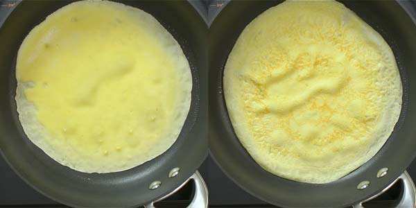 cooking sweet crepes on the skillet