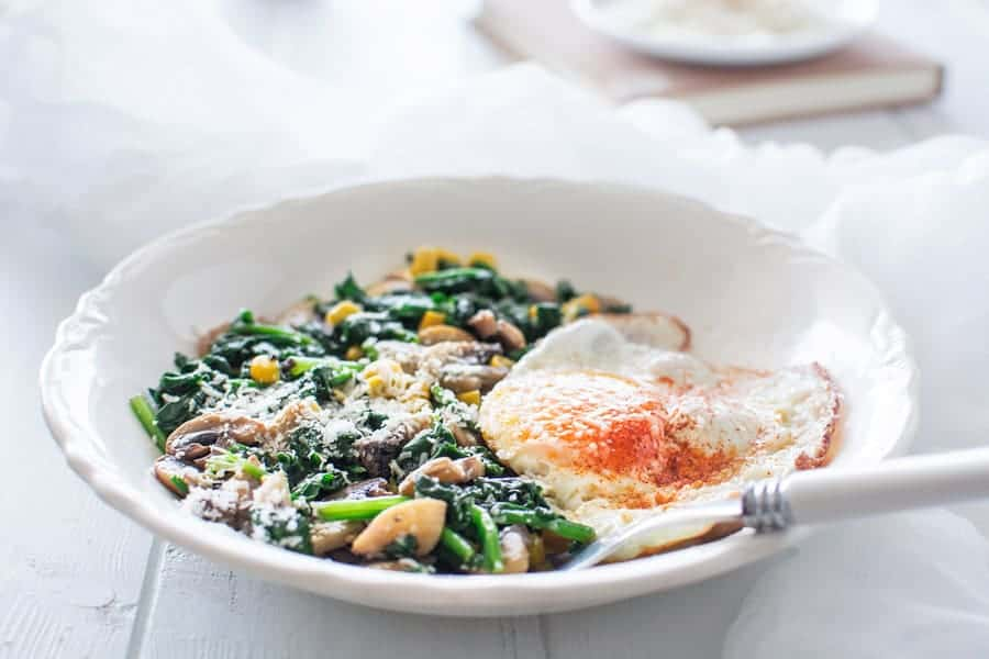 eggs with spinach and mushrooms