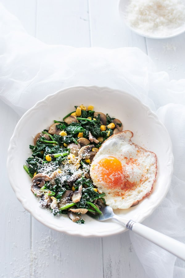 eggs-with spinach and mushrooms
