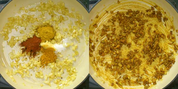 fried onions, curry powder, turmeric, paprika, and salt in the skillet