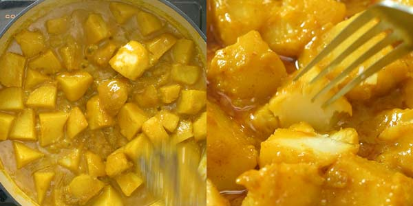 Checking potato curry for doneness