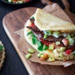 beef sandwich on naan bread