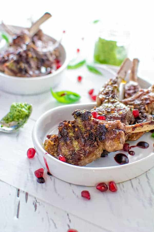 Lamb Chops With Pesto and Pomegranate Sauce | Stay At Home Mum