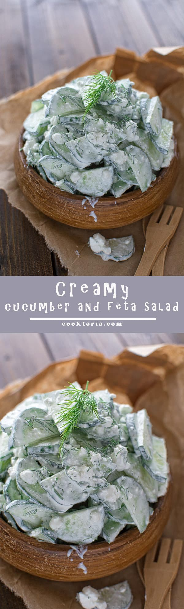 Delicious and creamy cucumber and feta salad that your whole family will love. ❤COOKTORIA.COM