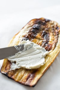 baked eggplant stuffed with creamy goat cheese, juicy tomato and basil ...