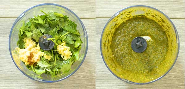 pulsing the chermoula ingredients in food processor