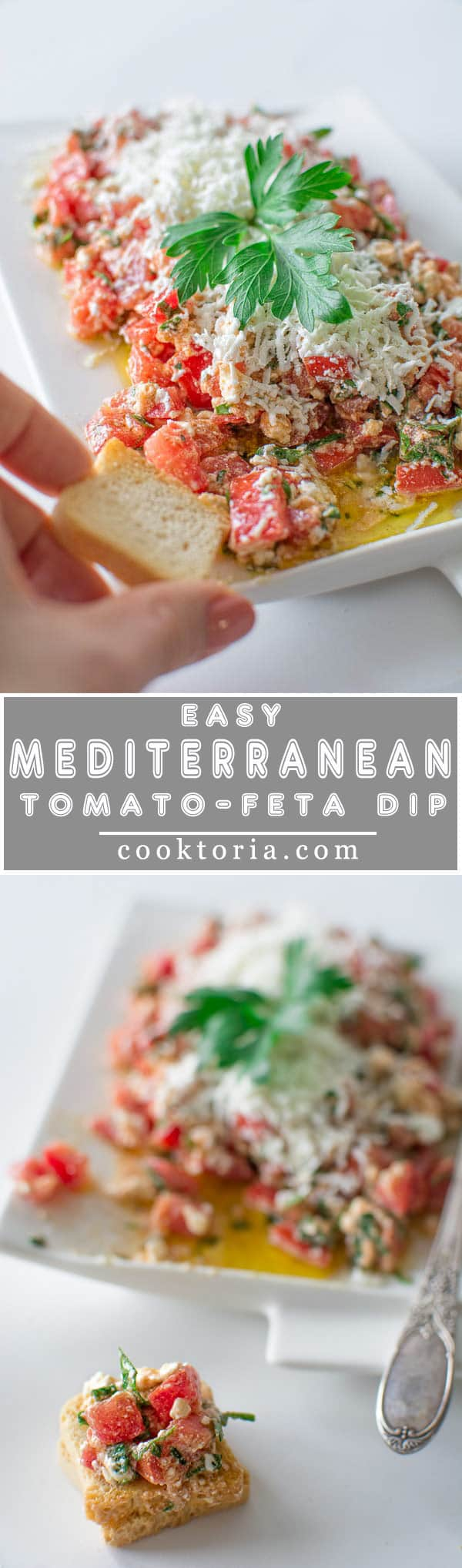 Easy Tomato Feta Dip - a crowd pleasing appetizer that will make your guests ask for more!!! ❤ COOKTORIA.COM