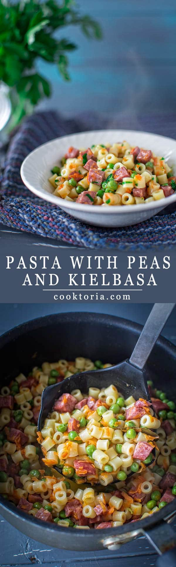 Tasty one-pot dinner in just 30 minutes! Ditalini pasta married with peas, kielbasa and carrots. Give it a try! ❤ COOKTORIA.COM