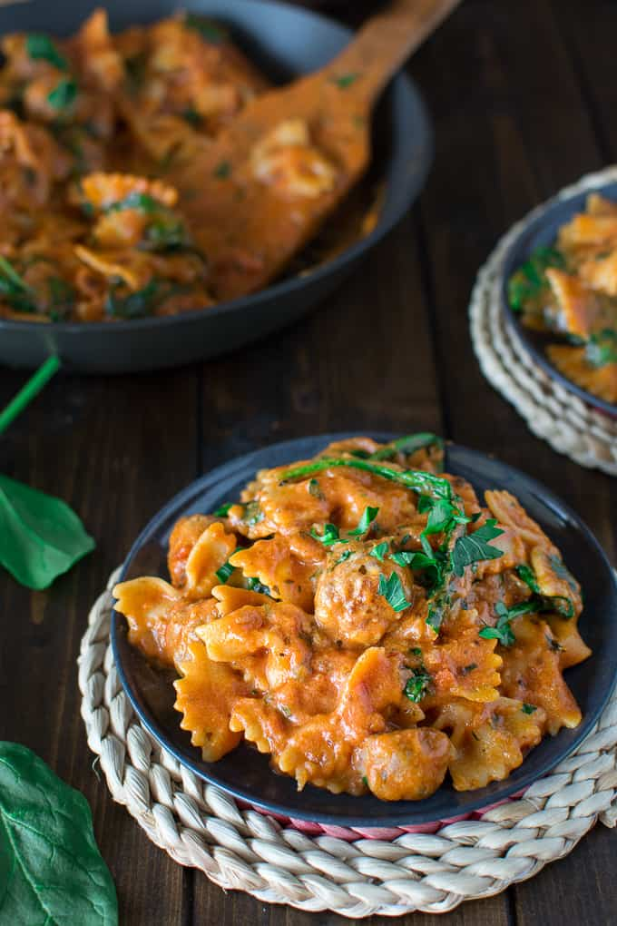 Quick and easy Bow Tie pasta cooked with Italian sausage meatballs in creamy tomato sauce.