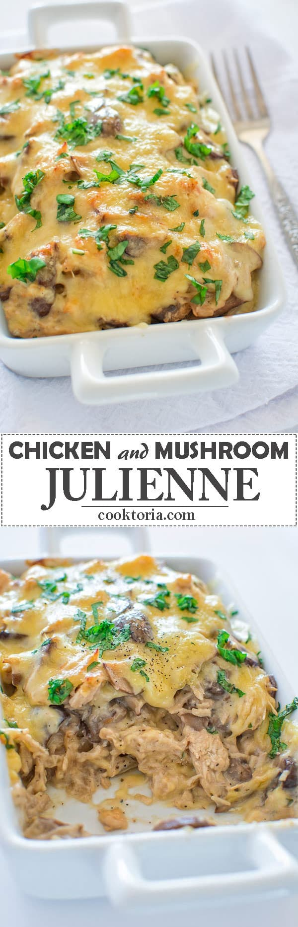 Succulent mushrooms and tender chicken cooked to perfection in creamy sauce and topped with melted cheese. This Chicken Mushroom Julienne is to die for!❤ COOKTORIA.COM