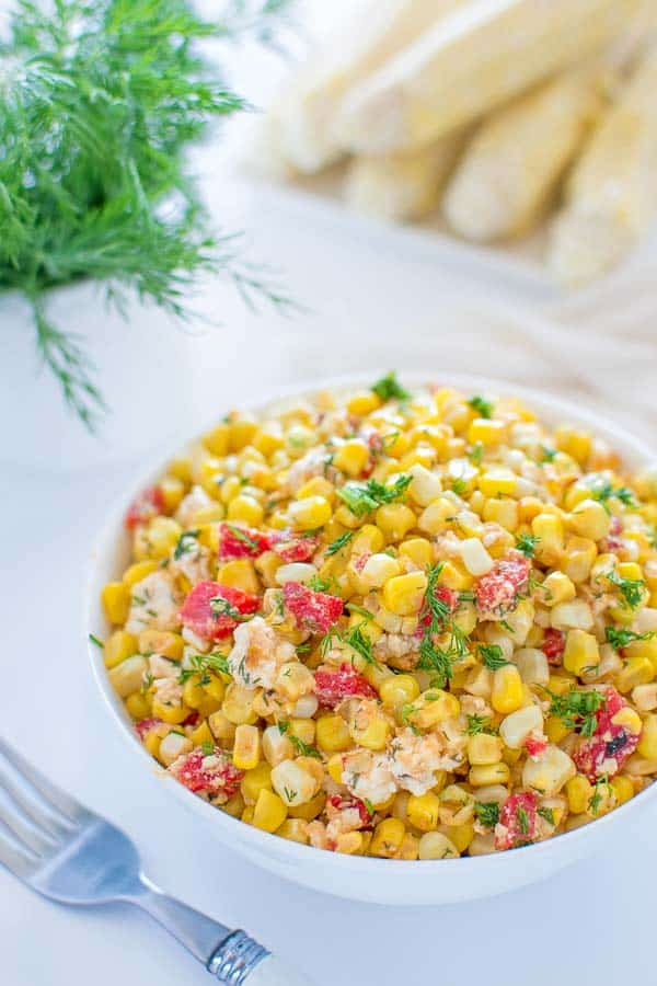 Quick and colorful Corn and Feta Salad is perfect for picnics and hot summer days. Serve this salad as an appetizer, a topping for whole grains or as a salsa with grilled chicken or fish. ❤ COOKTORIA.COM