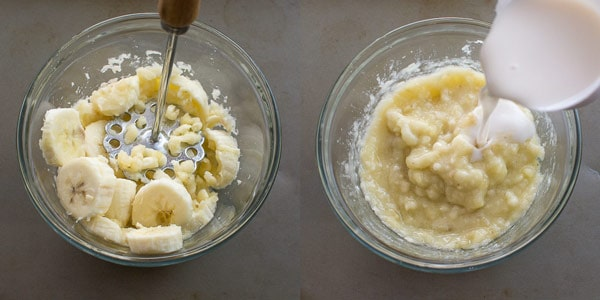 Mashing bananas with potato masher