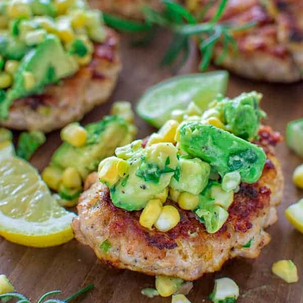 Chicken Burgers with Avocado Corn Salsa - COOKTORIA