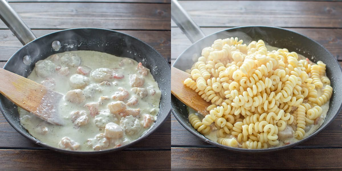 This Creamy Seafood Pasta is so easy to make and it makes a comforting and filling dinner. Ready in 30 minutes! ❤ COOKTORIA.COM