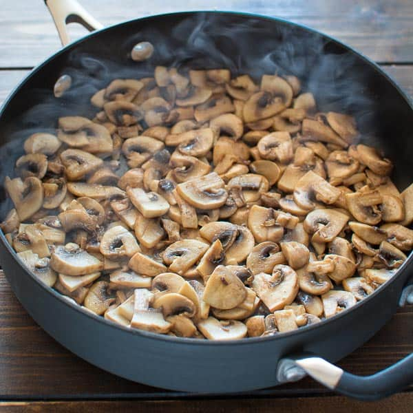 Mushrooms are fried in oil