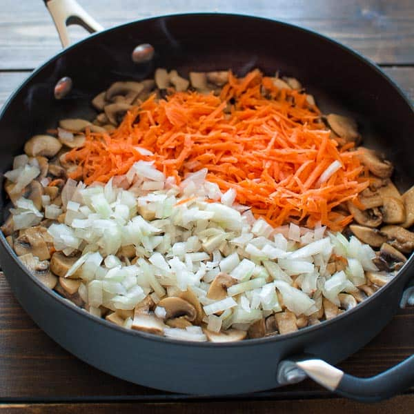 Fried mushrooms with onions and carrots