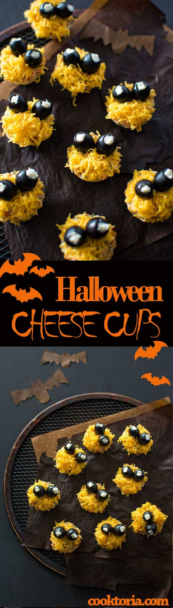 Mini fillo shells, stuffed with tasty cheese salad and garnished with olives, make these cute Halloween Cheese Cup monsters. ❤ COOKTORIA.COM