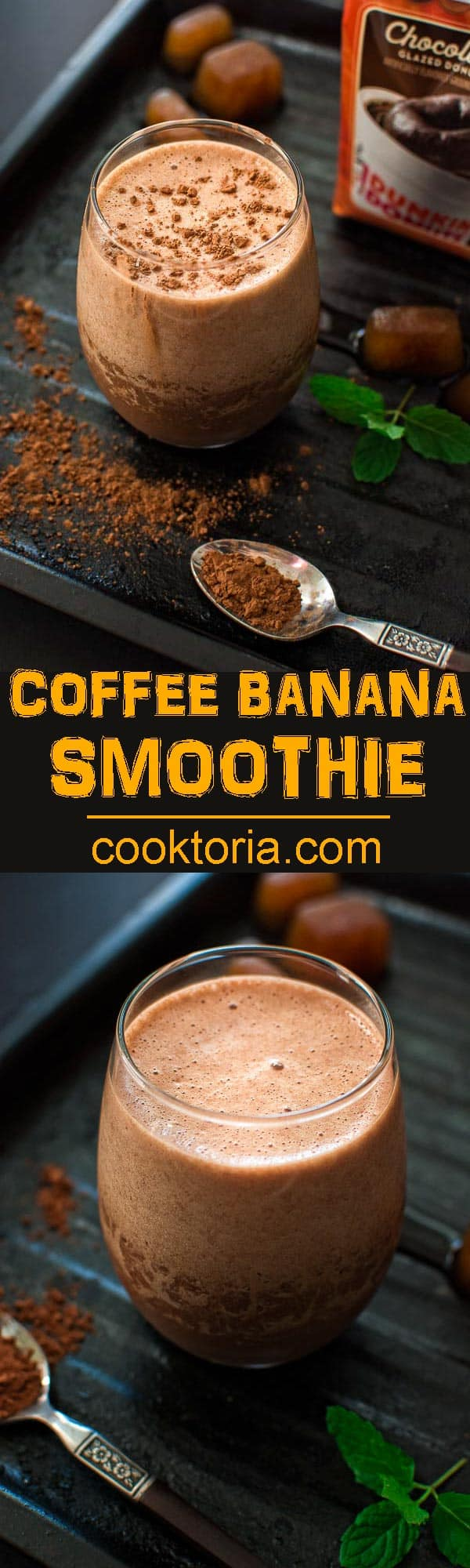 Rich, chocolaty and frothy, this Coffee Banana Smoothie makes a perfect breakfast of an afternoon treat. ❤ COOKTORIA.COM