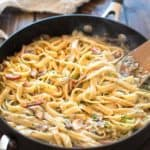 This Pasta with Mushrooms and Kielbasa makes an absolutely scrumptious, one-pot dinner! It is made with only 6 ingredients and it's ready in less than 30 minutes. ❤ COOKTORIA.COM