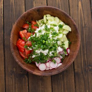 This refreshing and healthy Summer Salad with Feta makes a quick summer lunch that whole family will enjoy. ❤ COOKTORIA.COM