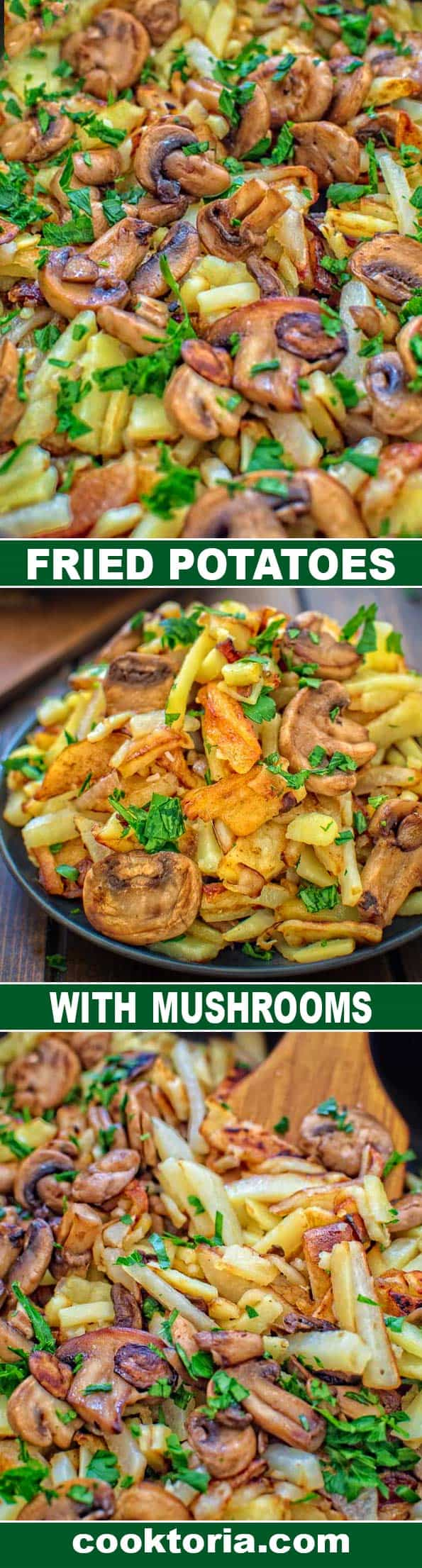 Incredibly tasty and so easy to make, these Fried Potatoes with Mushrooms will impress even the pickiest eater! ❤ COOKTORIA.COM ❤ COOKTORIA.COM