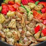 This Quick Pesto Chicken and Veggies is an easy, delicious and light, 30-minute dish that everyone will love! ❤ COOKTORIA.COM