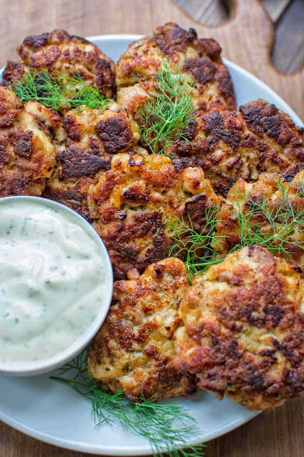 These Ranch Chicken Fritters are tender and delicious. Made with Ranch dressing instead of mayo, they won't disappoint even the pickiest of eaters. ❤ COOKTORIA.COM