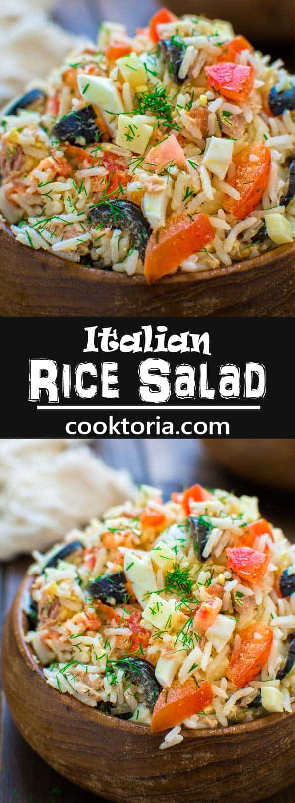 White rice mixed with tuna, fresh tomatoes, Swiss cheese, olives, and eggs, make this Italian Rice Salad a great lunch or a light dinner! ❤ COOKTORIA.COM