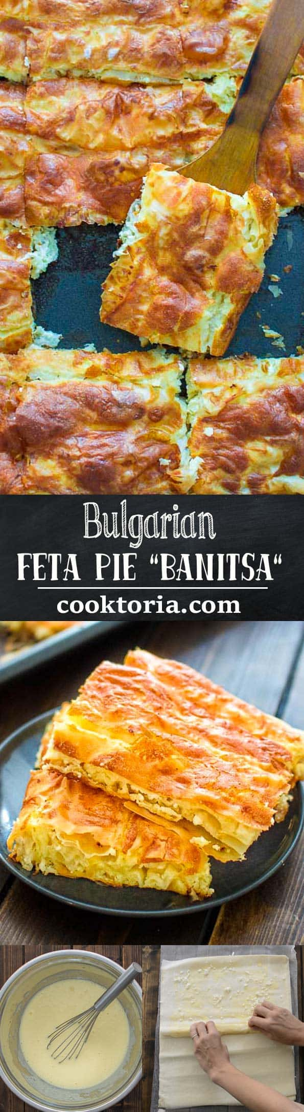 """This deliciousBulgarian Feta Pie """"Banitsa"""" is a true gem of Balkan cuisine. Made with layers of filo dough, crumbled feta, and eggs, it makes a perfect breakfast or mid-day snack."""