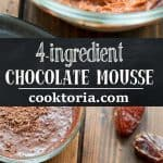 Rich and smooth, this4 Ingredient Chocolate Mousse made with coconut milk and a hint of peanut butter is truly delicious and easy to make. ❤ COOKTORIA.COM