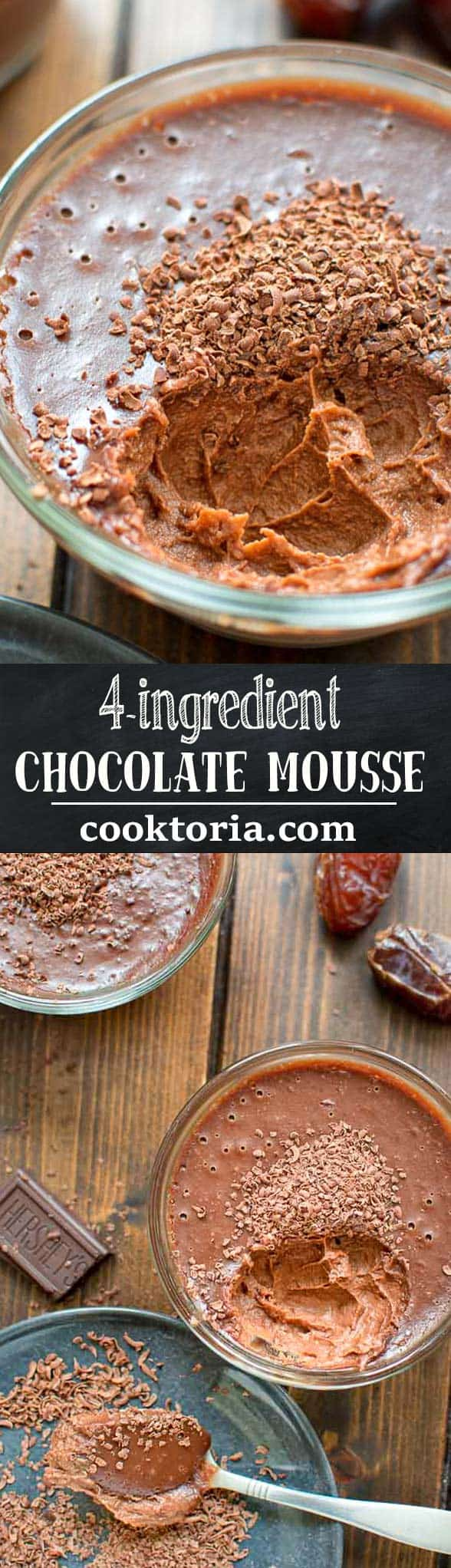 Rich and smooth, this 4 Ingredient Chocolate Mousse made with coconut milk and a hint of peanut butter is truly delicious and easy to make.  ❤ COOKTORIA.COM