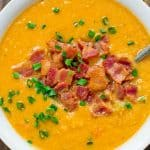 This healthy and tasty Red Lentil Soup with Bacon is vibrantly colorful and aromatic. It is going to keep you warm during the cold weather. ❤ COOKTORIA.COM