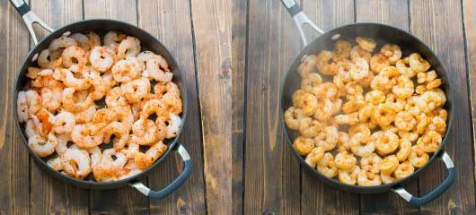 Shrimp with spices and garlic on skillet