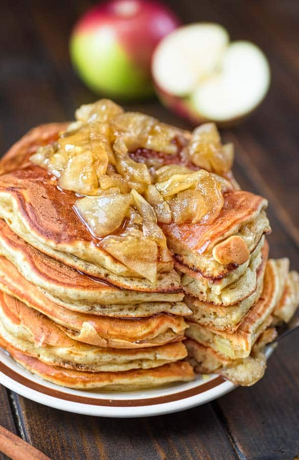Very thick and fluffy, made with eggs, yogurt, fresh apples, organic cane sugar, and cinnamon - these Apple Pancakes have been in my family for generations! ❤ COOKTORIA.COM