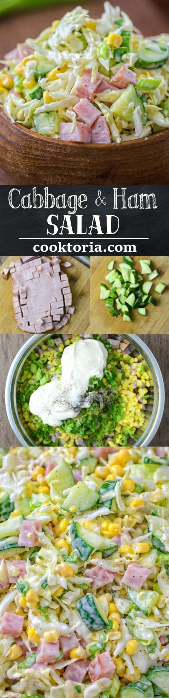 Made with fresh cabbage, cucumbers, ham, corn and scallions, this tasty and crunchy Cabbage and Ham Salad is packed with vitamins and makes a quick lunch or side dish.  ❤ COOKTORIA.COM