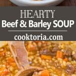 This Hearty Beef Barley Soup is a restaurant-worthy, absolutely delicious, easy-to-make and filling meal. Made with only 8 ingredients, less than 30 minutes of active cooking time, and minimal cleanup, it will feed the whole family! ❤ COOKTORIA.COM