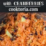 This easy-to-make, flavorful, and healthy Shredded Carrot Salad — packed with cranberries, apples, and toasted walnuts — is loved by both kids and adults! ❤ COOKTORIA.COM