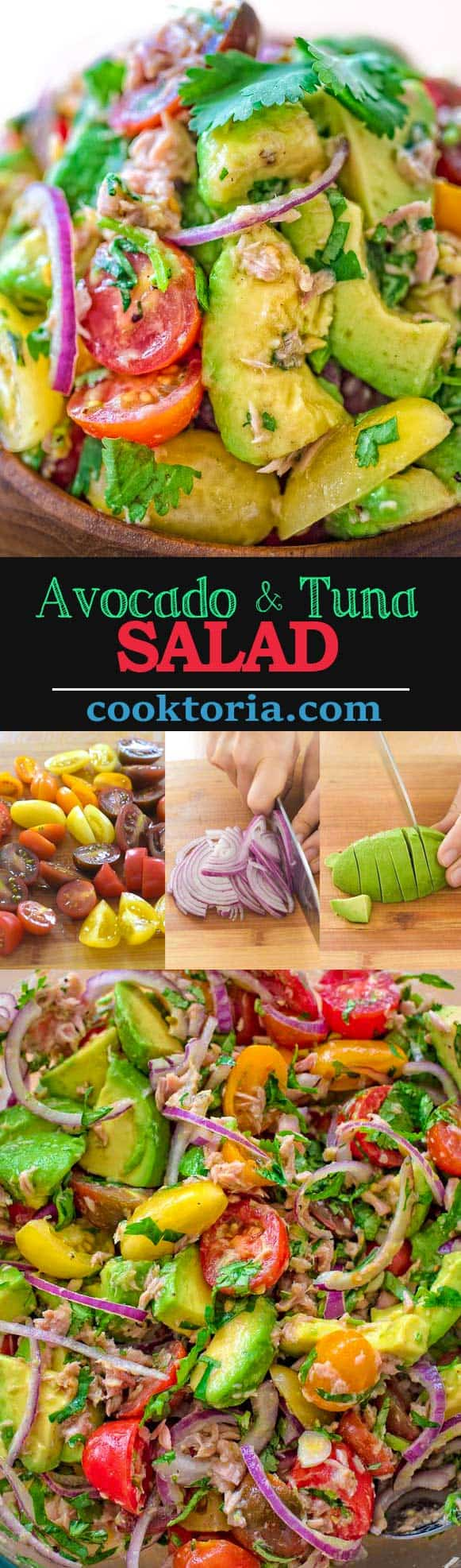 Very simple, flavorful, and tasty, this Avocado Tuna Salad requires just a few ingredients and 10 minutes of your time. ❤ COOKTORIA.COM