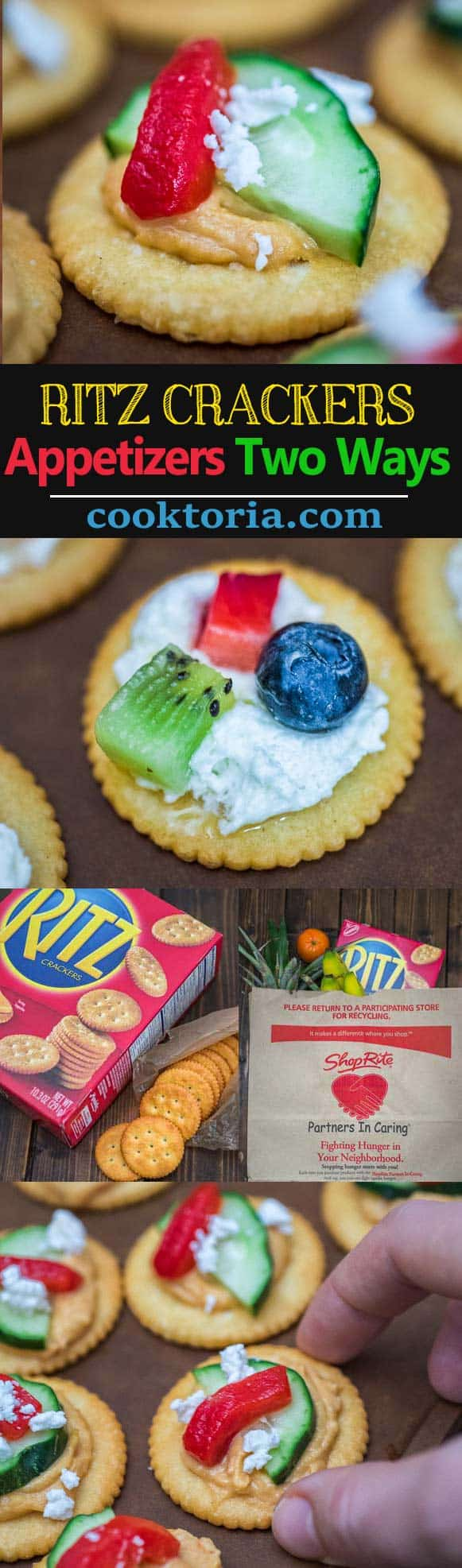 These quick and tasty RITZ Cracker Appetizers Two Ways are sure to be a crowd pleaser at your next dinner or friend gathering! These two sweet & savory recipes are packed with flavor and crunchiness. Plus, I'll share a cute plating hack with you!  ❤ COOKTORIA.COM