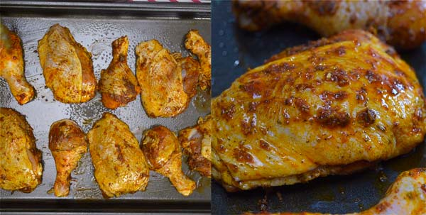 chicken on a baking sheet with paprika marinade