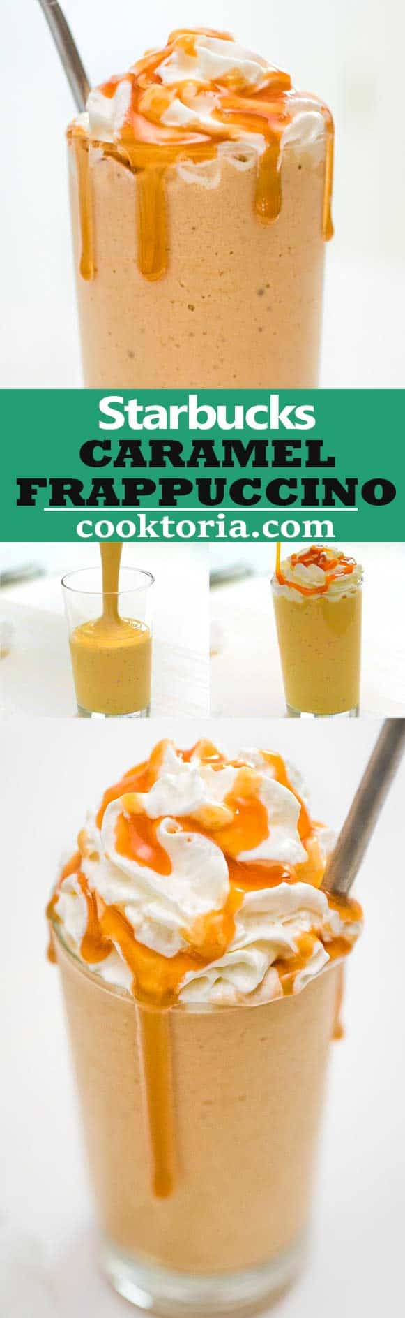 Smooth, creamy, and delicious, this Caramel Frappuccino is the only recipe you'll ever need! Learn all the steps and ingredients to make this popular Starbucks beverage at home.  ❤ COOKTORIA.COM