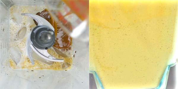 blending caramel frappuccino