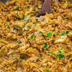 Tender chicken sautéed with succulent cabbage and cream. This tasty, one-pot Creamy Cabbage with Chicken will become your family's favorite in no time!  ❤ COOKTORIA.COM
