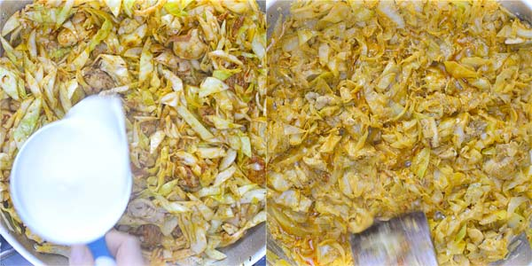 cream added to cabbage and chicken