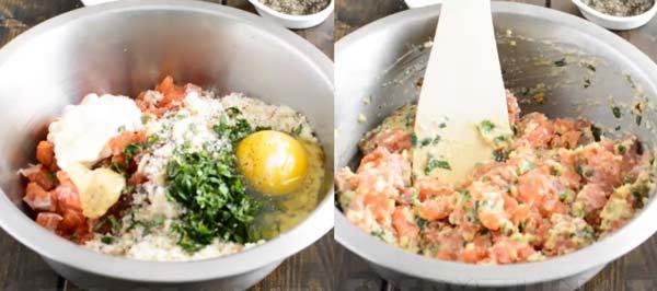 preparing salmon burger mixture