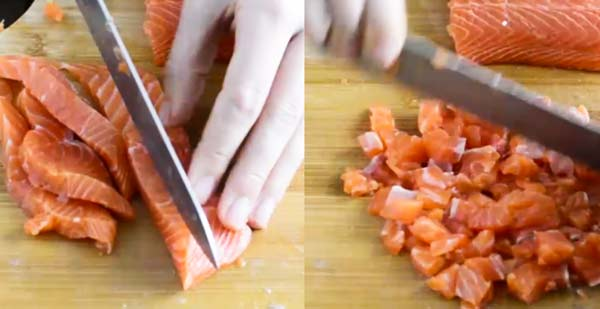 cutting salmon for salmon burgers