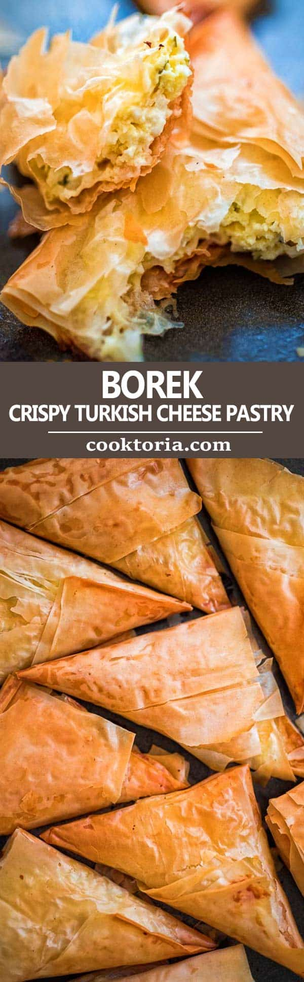 Crispy Phyllo Dough layers filled with creamy feta cheese make this Borek a delicious appetizer that is so easy to make! This recipe is a keeper! ❤ COOKTORIA.COM #borek #filo #phyllo #pastry