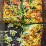 This Breakfast Broccoli Bake made with eggs, Provolone, and feta cheese is healthy, filling and delicious way to start your day! That's the only Broccoli Bake recipe you'll ever need.