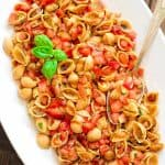 Loaded with fresh tomatoes, basil, and delicious Chickapea pasta, this Bruschetta Pasta Salad makes a refreshing side dish or a filling summer lunch.