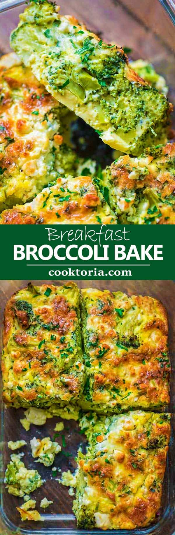 ThisBreakfast Broccoli Bake made with eggs, Provolone, and feta cheeseis healthy, filling and delicious way to start your day! That's the only Broccoli Bake recipe you'll ever need. #broccoli #broccolibreakfast
